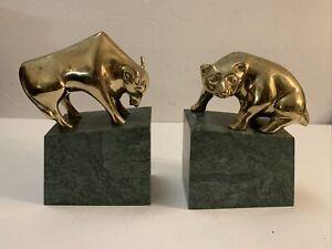 VTG Stock Market Brass Bull & Bear of Wall Street Statue Bookends Marble Base