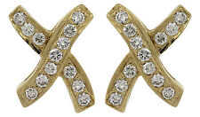 Ladies Vintage 14K 585 Yellow Gold 'X' Crossover Diamond Stud Butterfly Earrings