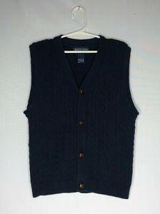 Lands' End boys size L (7) sweater vest knit navy w/cables brown buttons v-neck