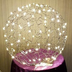 Drahtkugel Lampe Alu LED 45 cm Handarbeit Garten GeschenkStrom IP 44