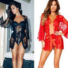femmes Sexy robe de nuit Lingerie Nuisette Pyjama Sous-vêtement lacets Manteau +
