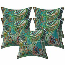 Indian Decorative Sofa Cushion Covers 16x16 Printed Kantha Cotton Pillowcases