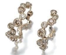 Auth KASHIKEY Earrings Diamond 0.80ct Bezel Hoop 18K 750 Brown Gold