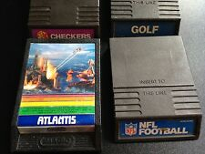 4 Mattel Intellivision Cartridges 1970'sNFL Football, Atlantis, Checkers & Golf