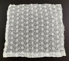 Antique Vintage Lace Net Fabric - Floral White Embroidery