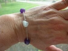 """Sterling Silver Genuine Aquamarine and Amethyst Nugget Bracelet Rolo Chain 7.5"""""""