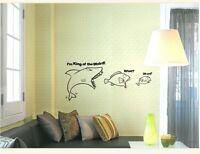 SHARK KING OF WORLD Removable Wall Art Decal KIDS Vinyl Sticker Mural Decor DIY
