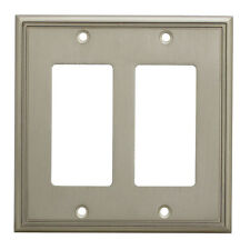 Satin Nickel Double Decora / GFCI Rocker Switch Wall Plate Cover 65088-SN