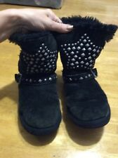 Ugg Australia Star Studded Sueded Leather Black Boots Fur Lined Buckle Kids 3