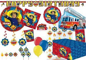 Fireman Sam Party Tableware Decorations Birthday Supplies