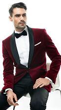 Men Maroon Elegant Luxury Tuxedo Designer Velvet evening Party Wear Blazers UK
