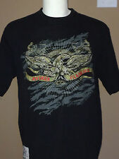 Avirex T Shirt Eagle Wings Art Biker Rider Rock Black Men Sz Large