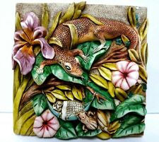 Harmony Kingdom Picturesque The Long Sleep 3-D Magnet Tile Lizard bugs Flower