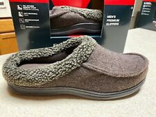 Round Tree /& Yorke Men Memory Foam Moccasin Slipper Shoes Black Large 11-12