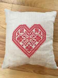"""Hand Embroidered Cross Stitch Red Heart Linen Pillow 16"""" X 16"""" Valentine's Day"""