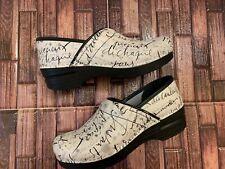 Dansko Professional Ivory Leather French Script Clogs Shoes  Sz 39