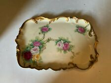 Antique T&V Limoges France Hand Painted Roses Dresser Tray