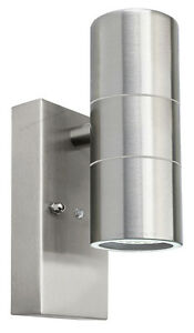 Dusk Till Dawn Sensor Outdoor Up Down Wall Light Stainless Steel Finish ZLC0203D