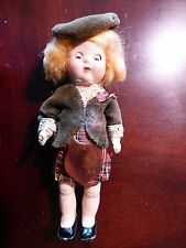 Vintage UK Roddy Celluloid Scottish Character Lady Doll Kilt costume/mohair wig