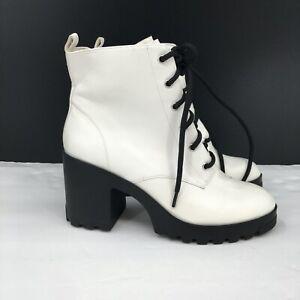 NEW BP. Masson Block Heel Bootie white combat boot lace up Women's 8 8M M READ