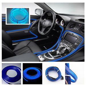 2M BLUE Cold light lamp Neon Lamp 12V EL Wire Car Atmosphere Fluorescent Strips
