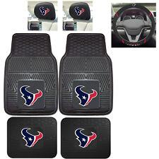 7pc NFL Houston Texans Heavy Duty Rubber Floor Mats & Steering Wheel Cover