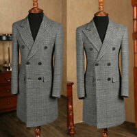 Vintage Men's British Style Suits Double-breasted Tweed Peak Lapel Tailored Fit