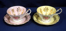 2 Queen Anne Bone China Pink + Gold and Yellow Floral Tea Cup and + Saucer Sets