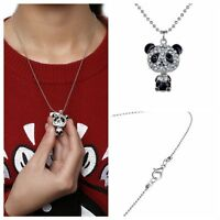 Gifts Jewelry Crystal Panda Pendant Necklace Silver Plated Sweater Chain