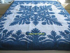 Hawaiian quilt FULL/TWIN BEDSPREAD 100% hand quilted/appliqué BREADFRUIT DB