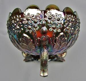 7754 FENTON'S FLOWERS Amethyst Modern Carnival Glass Footed Rose Bowl