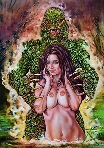 SUZI DOES THE CREATURE FROM THE BLACK LAGOON / ORIGINAL OIL PAINTING RICK MELTON