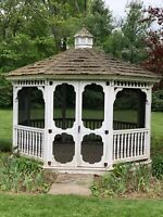 Pre-owned 10' Octagon Wood Gazebo On CT Estate Shingle Roof Garden Architecture