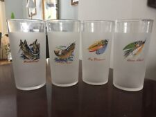 SET OF 8 VINTAGE FEDERAL GLASS TUMBLERS FISHING LURES GLASSES FROSTED RARE