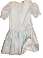 Vintage 80's Girl Handmade Green Mint Easter Dress Lined Short Sleeve Drop WAIST