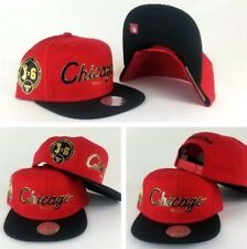 Mitchell Ness Red/Black Script Chicago Bulls 6x Champion side patch snapback Hat