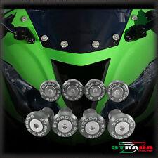 Strada 7 Racing CNC Pare-Brise Vis Carénage Kit 8pc Kawasaki ZX10R 04-14 Gris