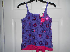 *NWT* JUSTICE Sequined Leopard Tank Top Cami Purple/Hot Pink Size 12