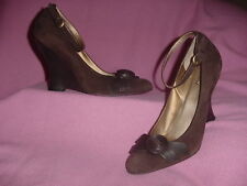 "Brown Suede Leather Very High Wedge Ankle Pump ""Madly"" by Carlos Santana 10M"