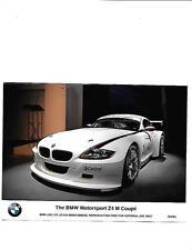BMW MOTORSPORT Z4  M COUPE PRESS PHOTO 'SALES BROCHURE' MARCH 2006