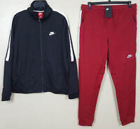 NIKE TRACK SUIT JACKET + PANTS BLACK TEAM RED WHITE RARE NEW (SIZE LARGE / XL)