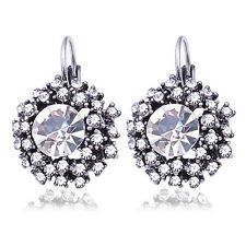 Silver Plated Clear Vintage Rhinestone Crystal Round  Lever Back Earrings Gift