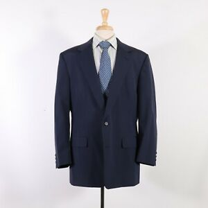Brooks Brothers 45L Navy Solid 100% Wool Two Button Sport Coat Blazer Jacket