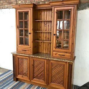 Solid Pine Large Kitchen Display Cabinet with Radiator Cover Bottom