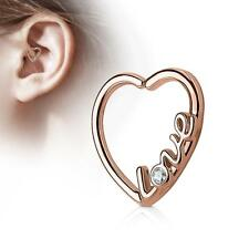 """Rose Gold Ion Plated 16 Gauge """"LOVE"""" Heart  Ear Cartilage/Daith Hoop Ring"""