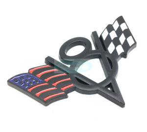 Black V8 American US USA Flag Chrome Metal Front Emblem Badge For Chevrolet