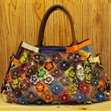 100% Genuine Leather Colorful Floral Patchwork Handbag Women's Tote Shoulder Bag