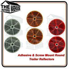 TRAILER ROUND REFLECTORS RED AMBER CLEAR SELF ADHESIVE CAMPER VAN TRUCK CARAVAN