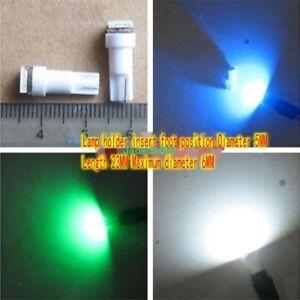 5pcs DC12V/24V 0.5W T5 LED lights White / green / blue Indicator light for car