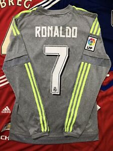 REAL MADRID AWAY JERSEY LONG SLEEVE 2015/16 S MEN SIZE VINTAGE  RONALDO S12686